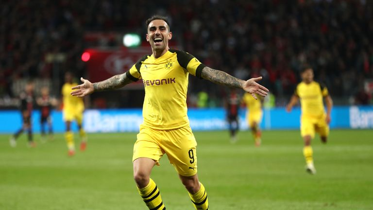 Paco Alcacer scored twice as Dortmund came from 2-0 down to beat Bayer Leverkusen