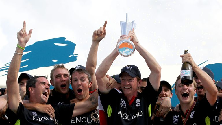 Paul Collingwood celebrates winning the World T20 final against Australia in 2010