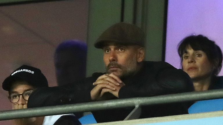 Pep Guardiola during the Group F match of the UEFA Champions League between Manchester City and Olympique Lyonnais at Etihad Stadium on September 19, 2018 in Manchester, United Kingdom.