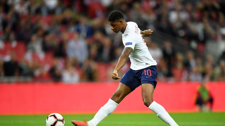 Marcus Rashford, England's goalscorer on Saturday, is a doubt due to a hamstring injury