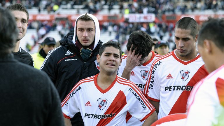River Plate players in tears following their relegation