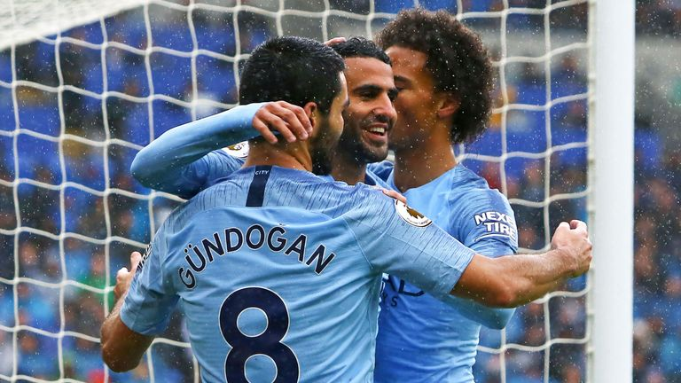 Riyad Mahrez celebrates his first goal Ilkay Gundogan and Leroy Sane