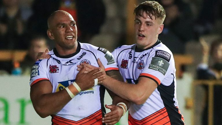 Castleford's Jake Webster is congratulated on a score by team-mate Jake Trueman