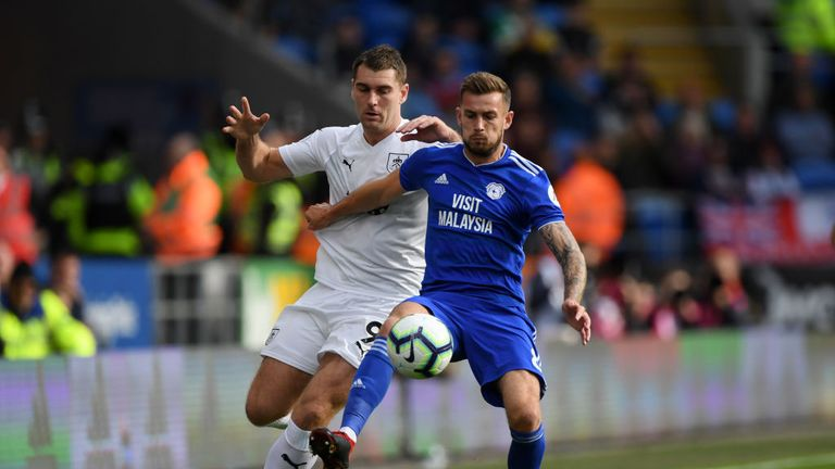 Sam Vokes and Joe Ralls jostle for possession at the Cardiff City Stadium