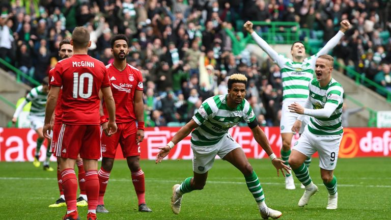 Scott Sinclair wheels away in celebration after scoring the winner for Celtic against Aberdeen