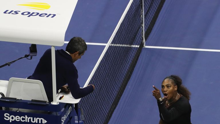 Williams vents her anger at umpire Carlos Ramos
