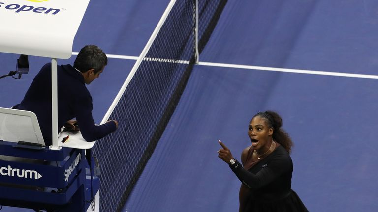 Serena Williams was penalised a game during the US Open final
