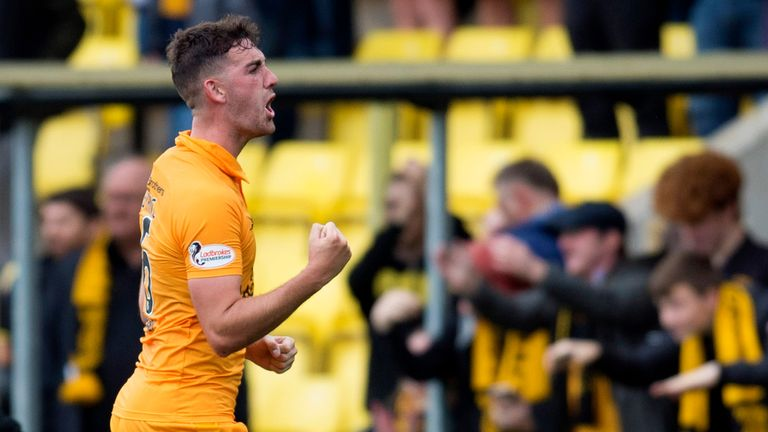 Livingston's Shaun Byrne celebrates at full-time after their 2-1 win over Hibernian.