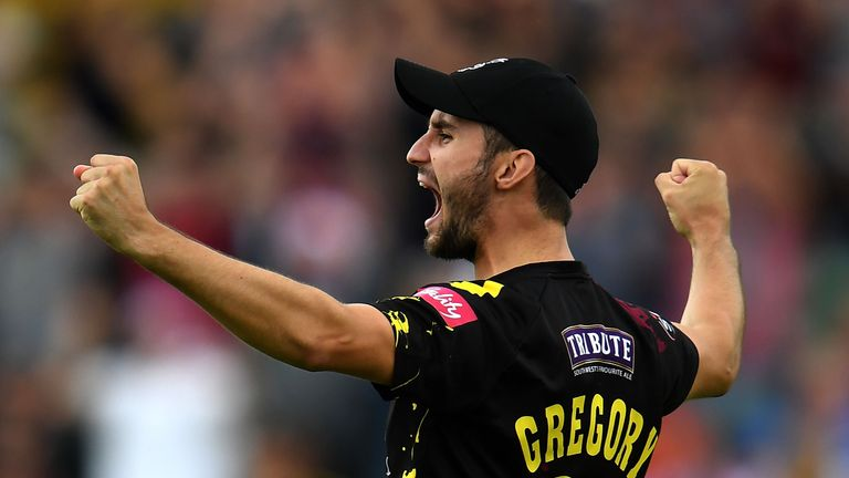 Lewis Gregory celebrates Somerset's quarter-final win over Nottinghamshire