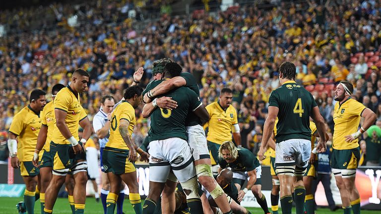 The Springboks celebrate their first try of the game in Brisbane