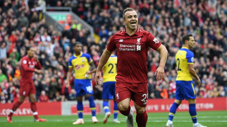 Xherdan Shaqiri was involved in two of Liverpool's three goals at Anfield