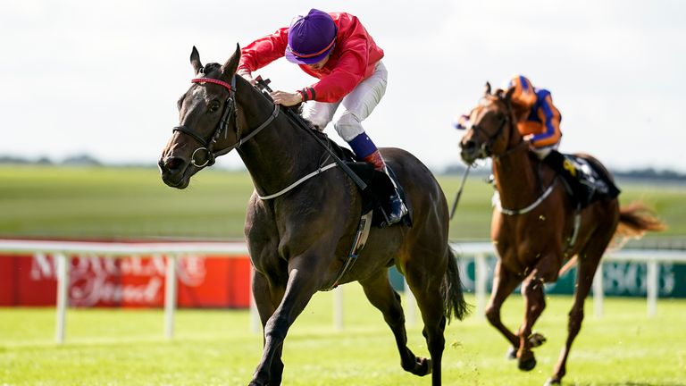 Ronan Whelan riding Skitter Scatter  win the Moyglare Stud Stakes at the Curragh