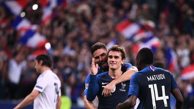 Antoine Griezmann celebrates his winner