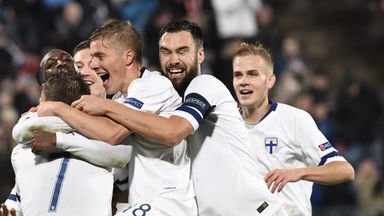 Finland celebrate their second goal against Greece