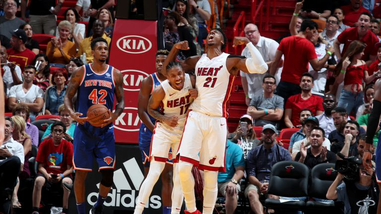 Hassan Whiteside was in dominant form as the Miami Heat hammered the New York Knicks