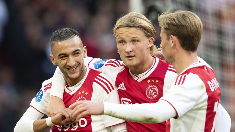 Hakim Ziyech celebrates scoring for Ajax