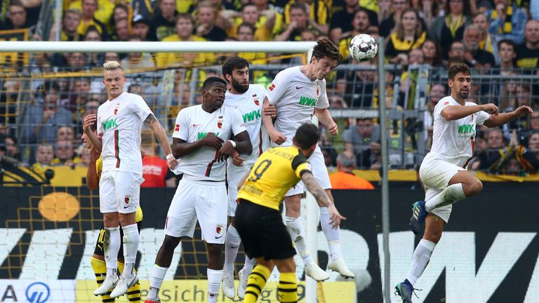 Alcacer fires a free-kick towards goal in Dortmund's dramatic win
