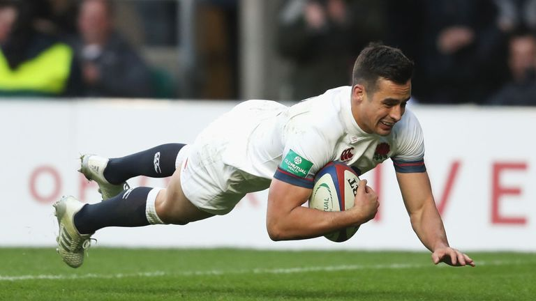 Alex Lozowski of England touches down for the second try for England against Samoa