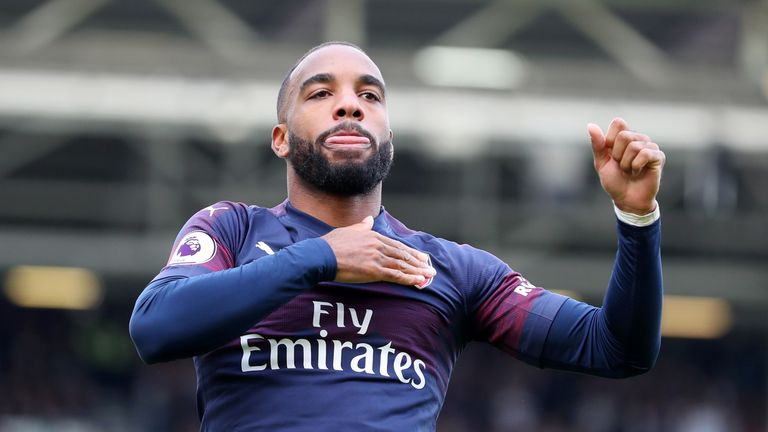 Alexandre Lacazette celebrates scoring his and Arsenal's second goal of the game