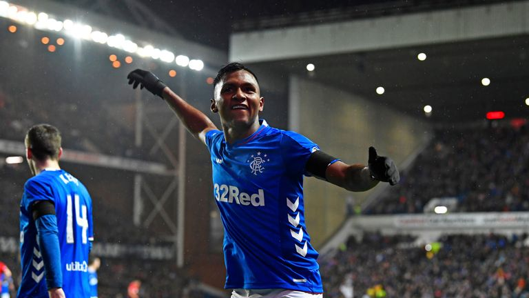 Alfredo Morelos celebrates after scoring to make it 1-0 to Rangers