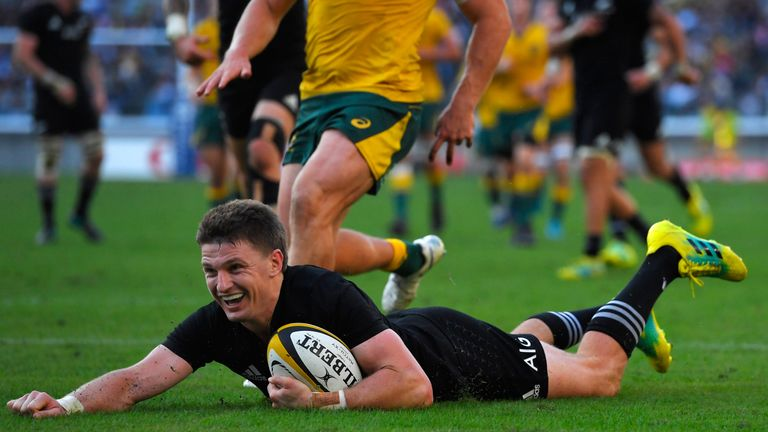 Beauden Barrett scoring for New Zealand in the second half
