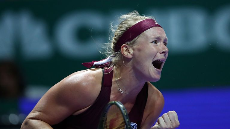 Kiki Bertens celebrates her victory over top seed Angelique Kerber