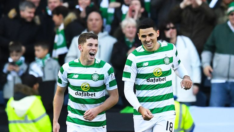Christie (L) celebrates his goal with Tom Rogic
