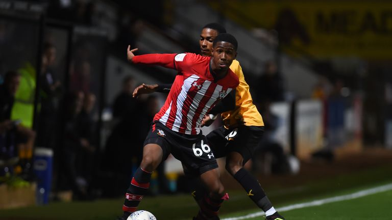 Southampton's Kayne Ramsey playing in the Checkatrade Trophy