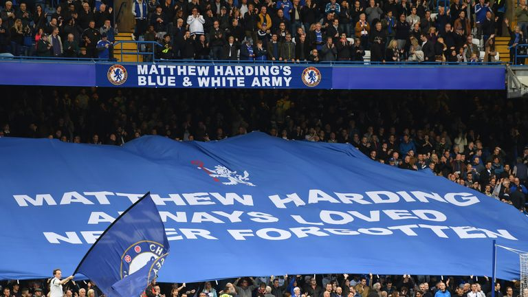 A tribute to Matthew Harding at Stamford Bridge in 2016
