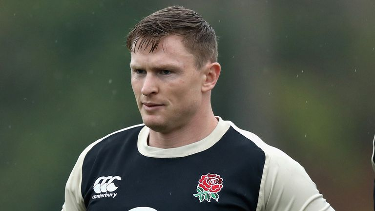 Chris Ashton, looks on during the England training session held at Browns Sport and Leisure Club on October 26, 2018 in Vilamoura, Portugal.