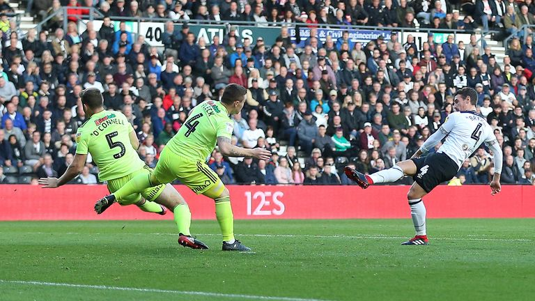 Derby's Craig Bryson scored after 17 seconds against Sheffield United