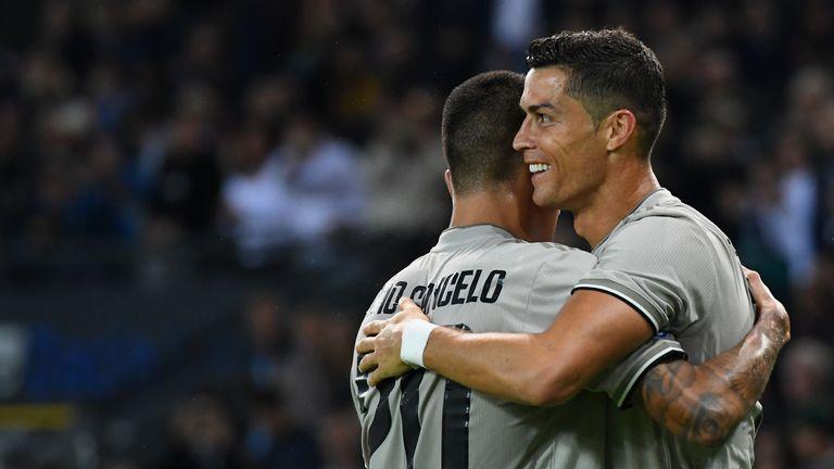 Cristiano Ronaldo celebrates scoring against Udinese