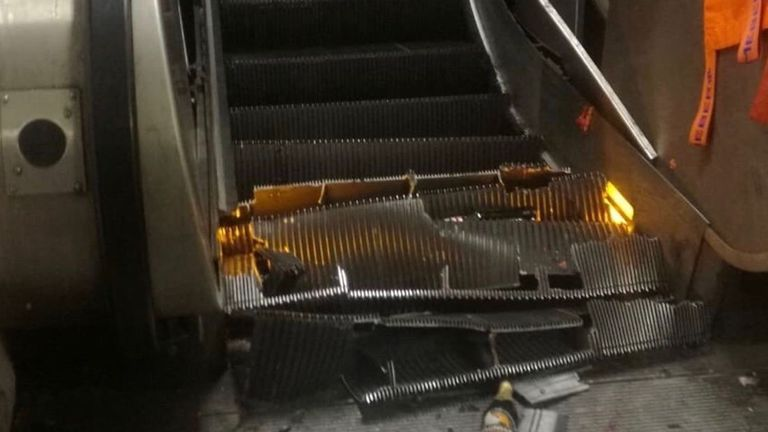 Images shared by the fire and rescue service showed the damage done to steps. Pic: Vigili del Fuoco