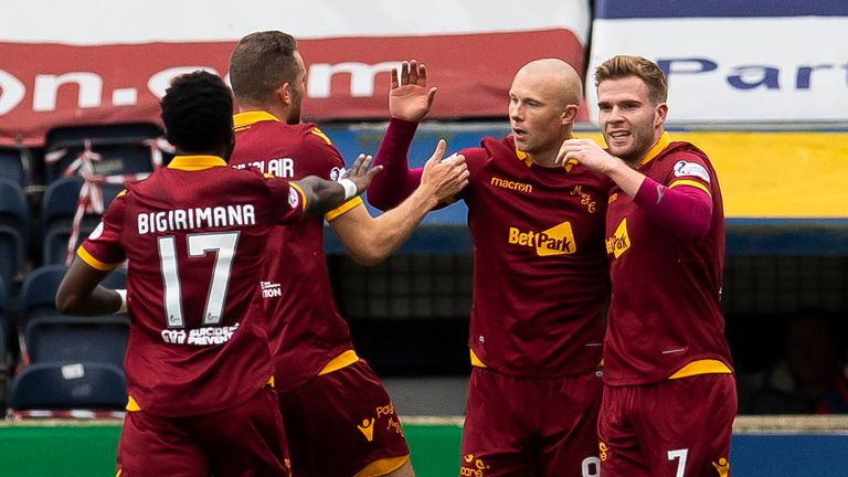 Motherwell striker Curtis Main celebrates his opener against Kilmarnock last weekend