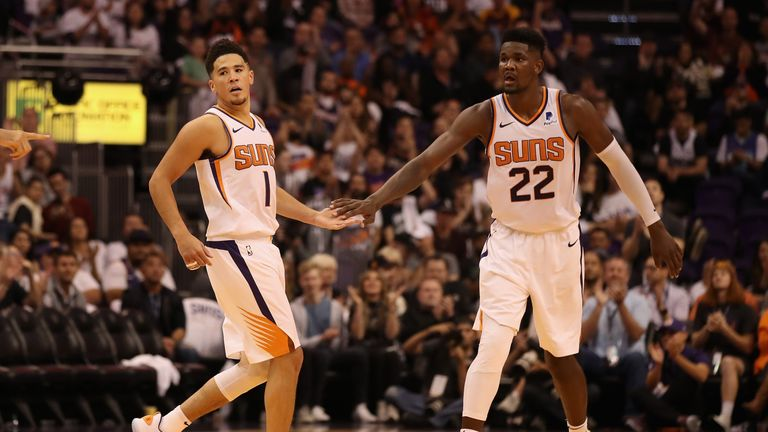Phoenix Suns duo Devin Booker and Deandre Ayton in heated exchange | NBA News |