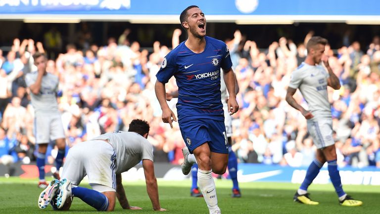 Eden Hazard celebrates scoring Chelsea's first goal during the Premier League match between Chelsea and Cardiff City at Stamford Bridge in London on September 15, 2018