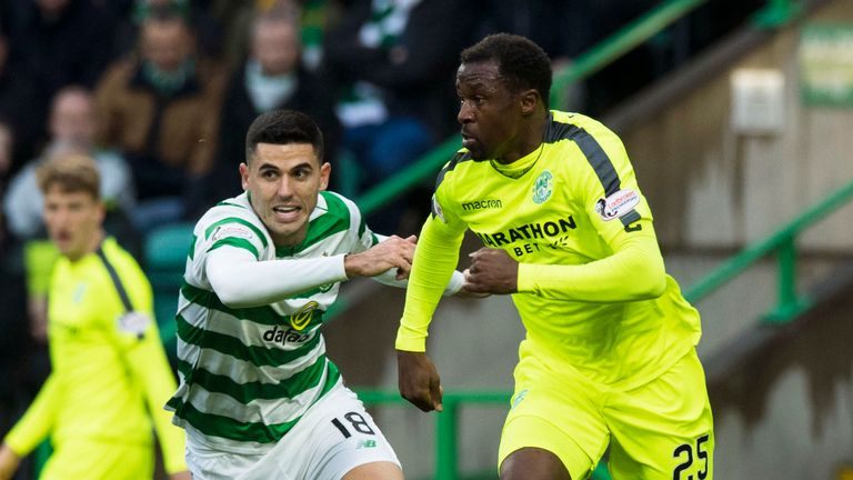 Hibernian defender Efe Ambrose in action against his former club Celtic earlier this season
