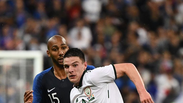 Declan Rice in action for Ireland against France