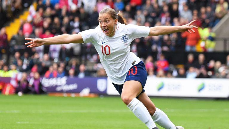 Fran Kirby celebrates scoring against Brazil Women in October