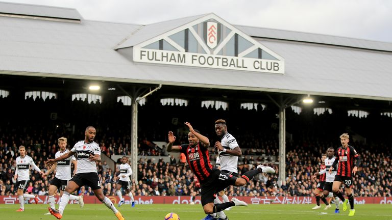 Timothy Fosu-Mensah concedes a penalty during Fulham's 3-0 defeat to Bournemouth