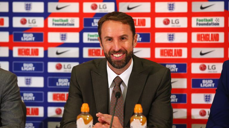 Gareth Southgate addresses the media during an England squad announcement at St Georges Park on October 4, 2018