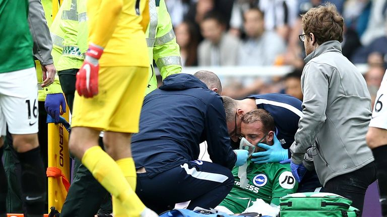 Glenn Murray was knocked unconscious on Saturday at St James' Park