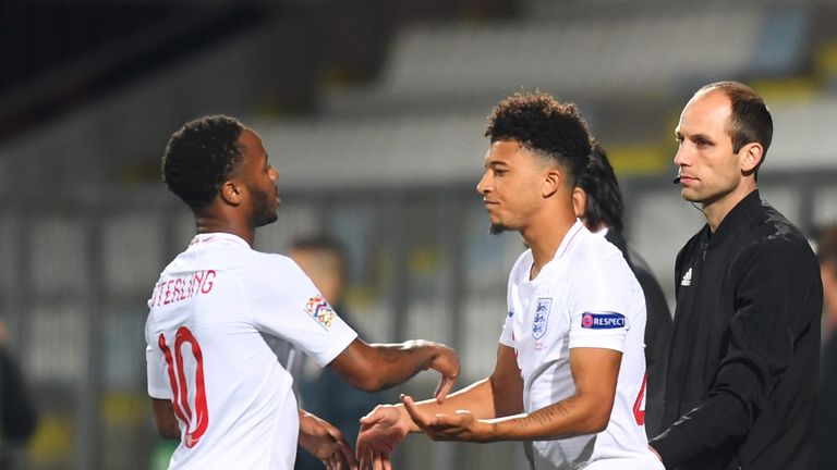 Jadon Sancho comes on for his England debut, replacing Raheem Sterling