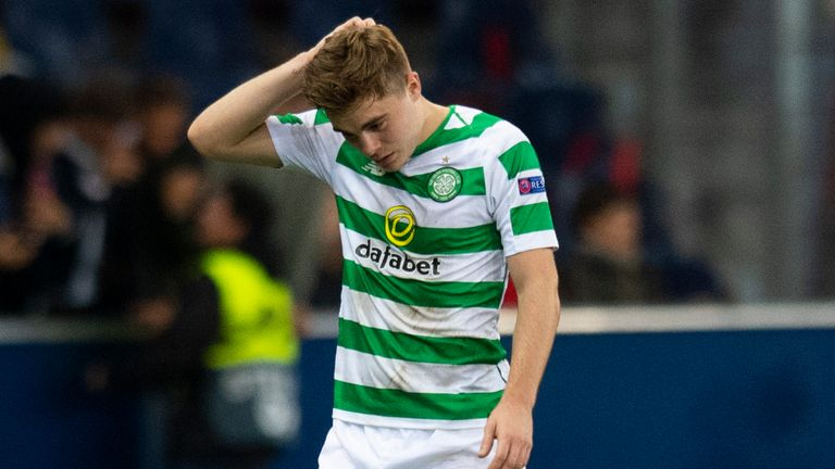 James Forrest was sent off for Celtic in their Europa League group stage defeat to Salzburg on Thursday night