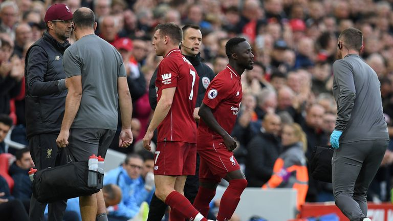James Milner is replaced by Naby Keita after picking up and injury