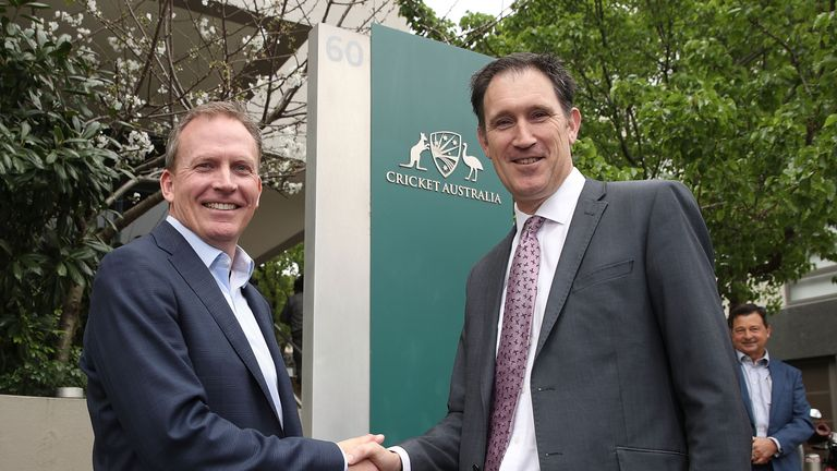 James Sutherland (R) is handing the reigns over to Kevin Roberts [L} as he becomes chief executive