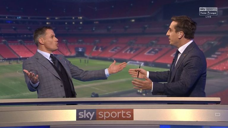 Jamie Carragher with Neville in the Monday Night Football studio