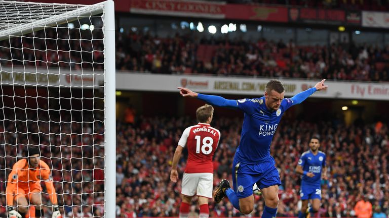Vardy scored twice on his last visit to the Emirates