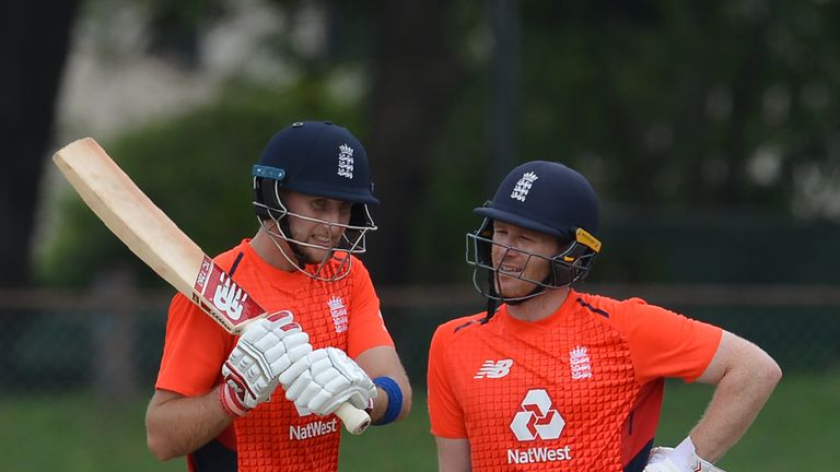 Joe Root and Morgan scored unbeaten nineties in a warm-up match in Colombo on Friday