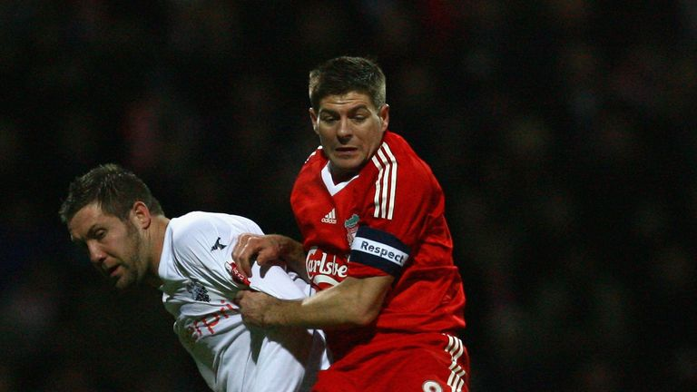 Parkin battles Steven Gerrard during an FA Cup match for Preston against Liverpool